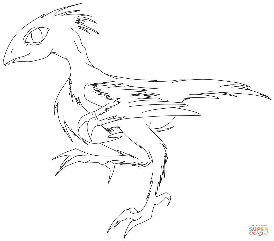 Running Archaeopteryx Coloring Page