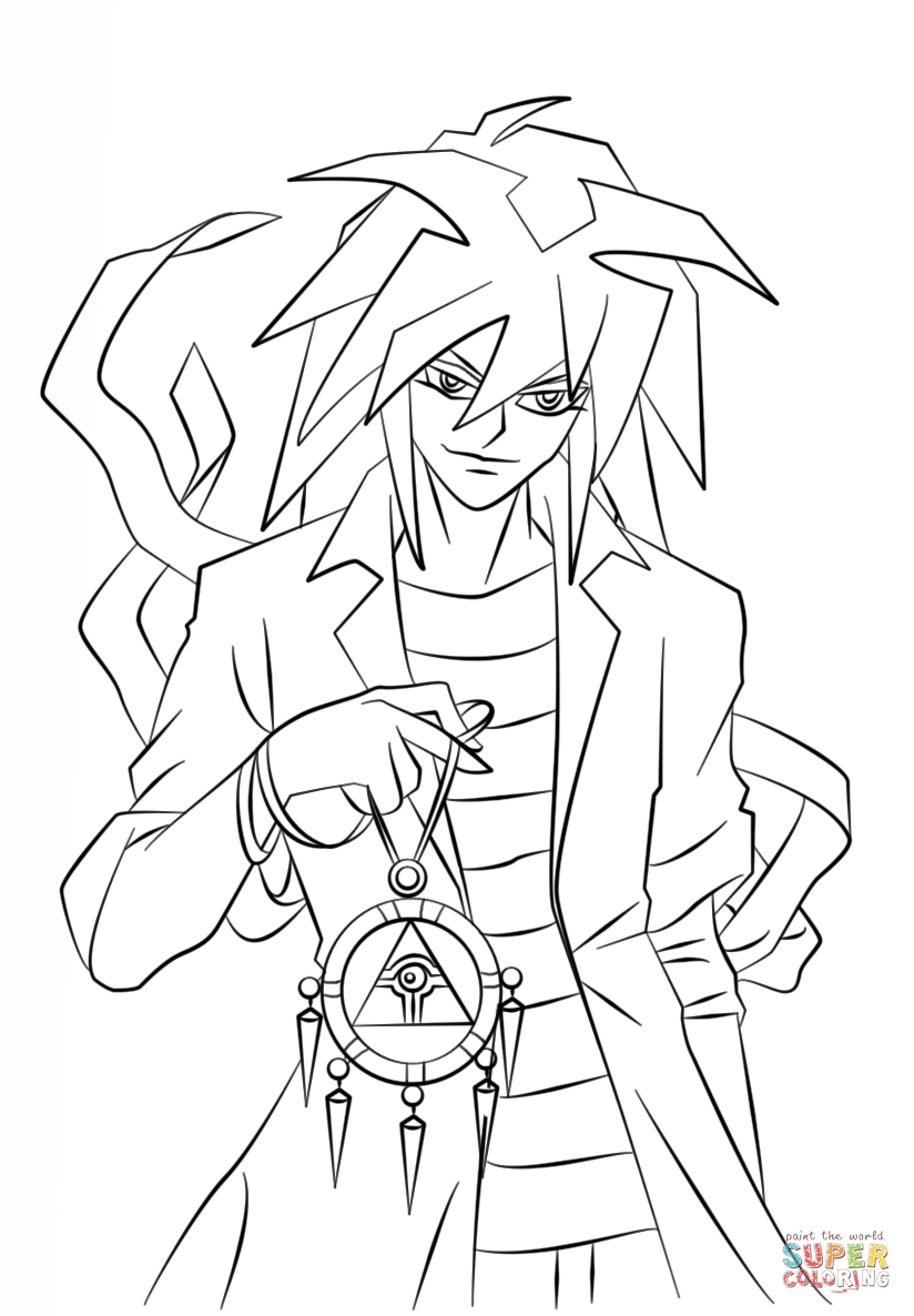 Bakura From Yu Gi Oh Coloring Page Free Printable Coloring Pages