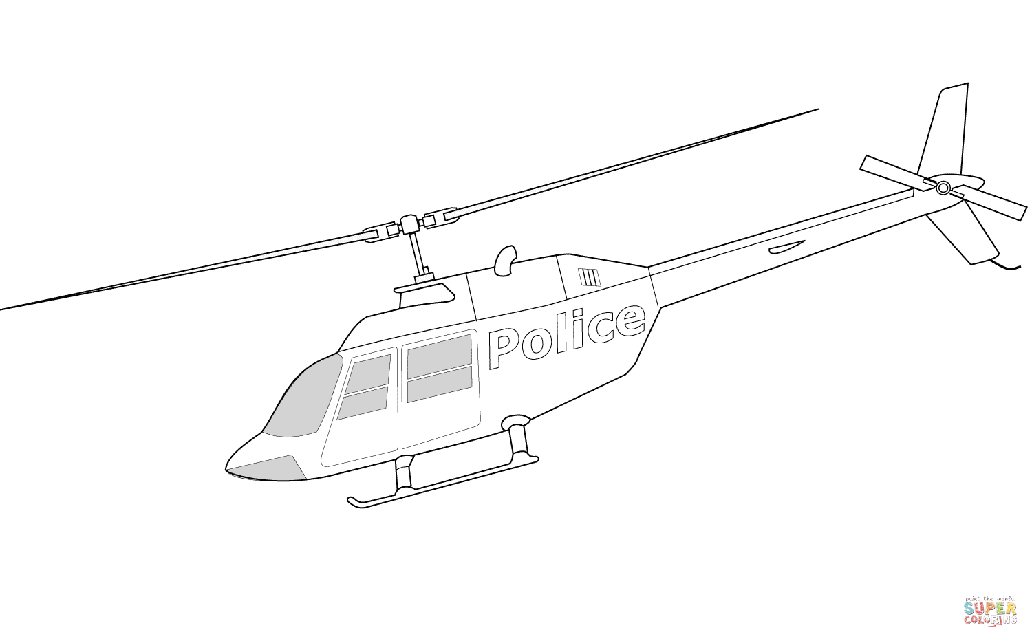 Bell 206a Police Helicopter Coloring Page Free Printable
