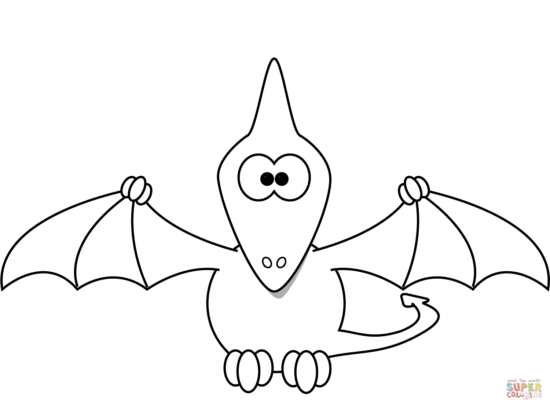 Cartoon Pterodactyl Coloring Page