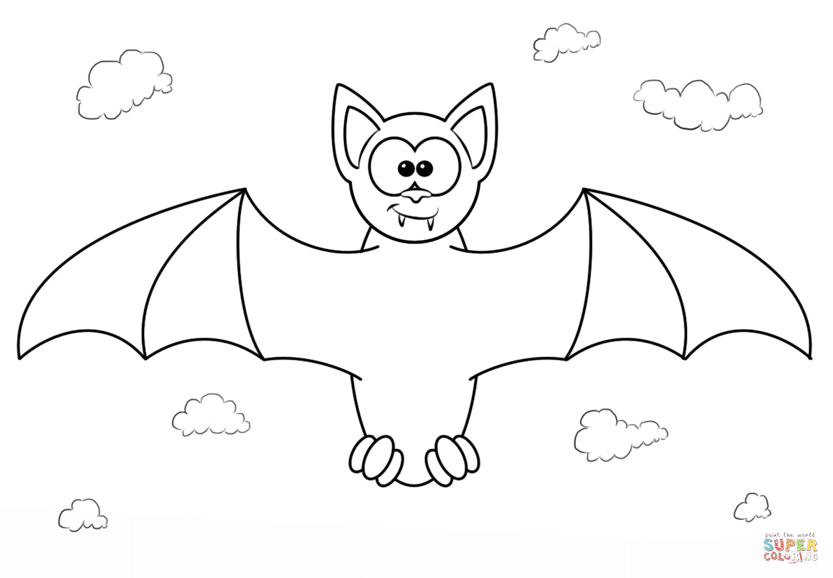 Cartoon Vampire Bat Coloring Page