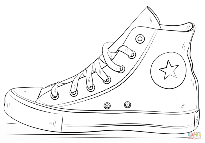Click The Converse Shoes Coloring Pages To View Printable Version Or Color It Online Compatible With Ipad And Android Tablets