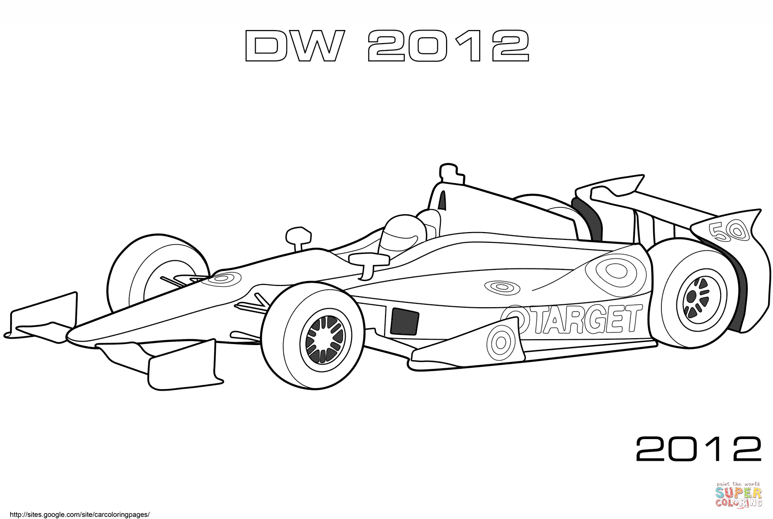 Dallara Dw12 Indy Car Coloring Page