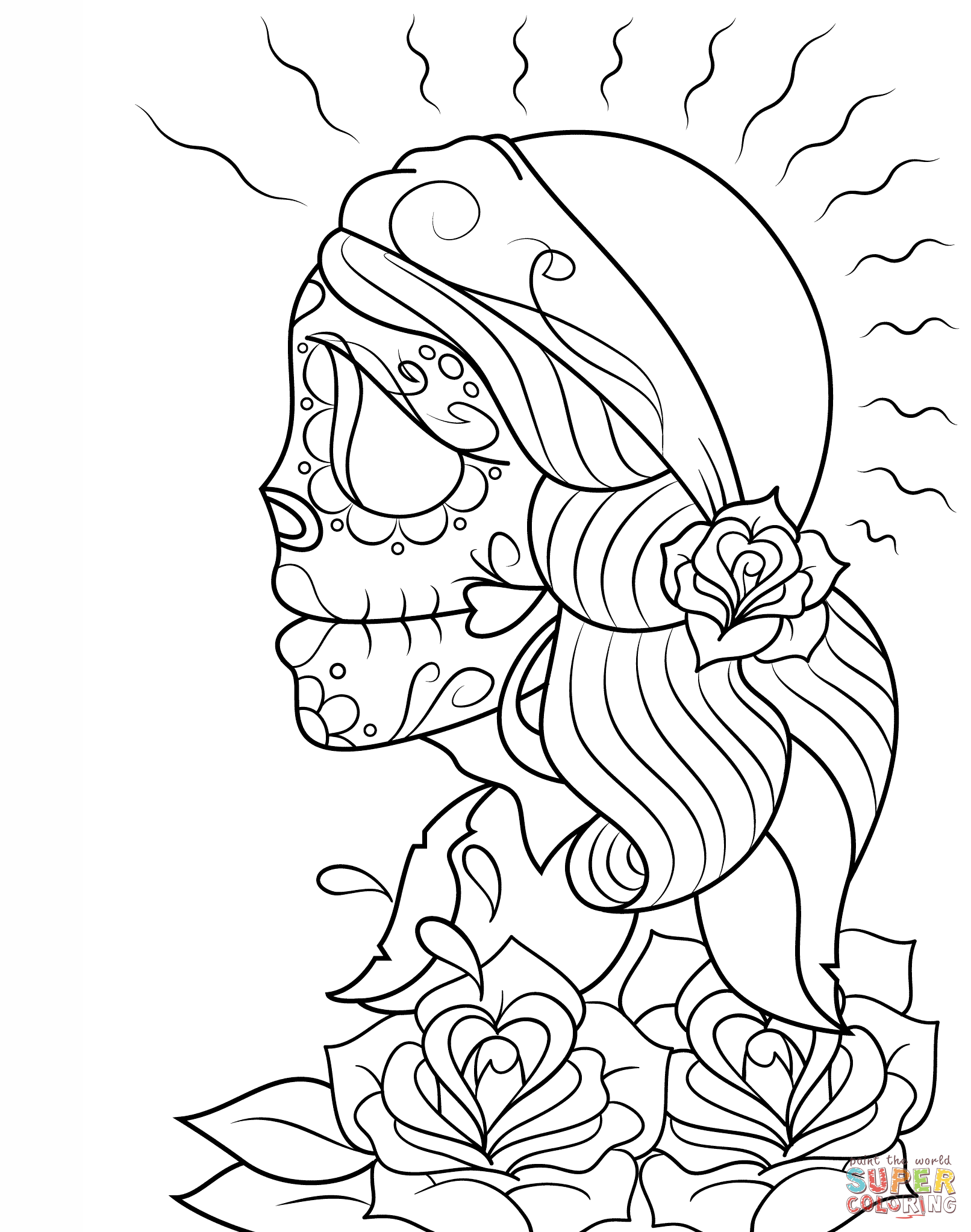Day Of The Dead Girl Skull Coloring Page