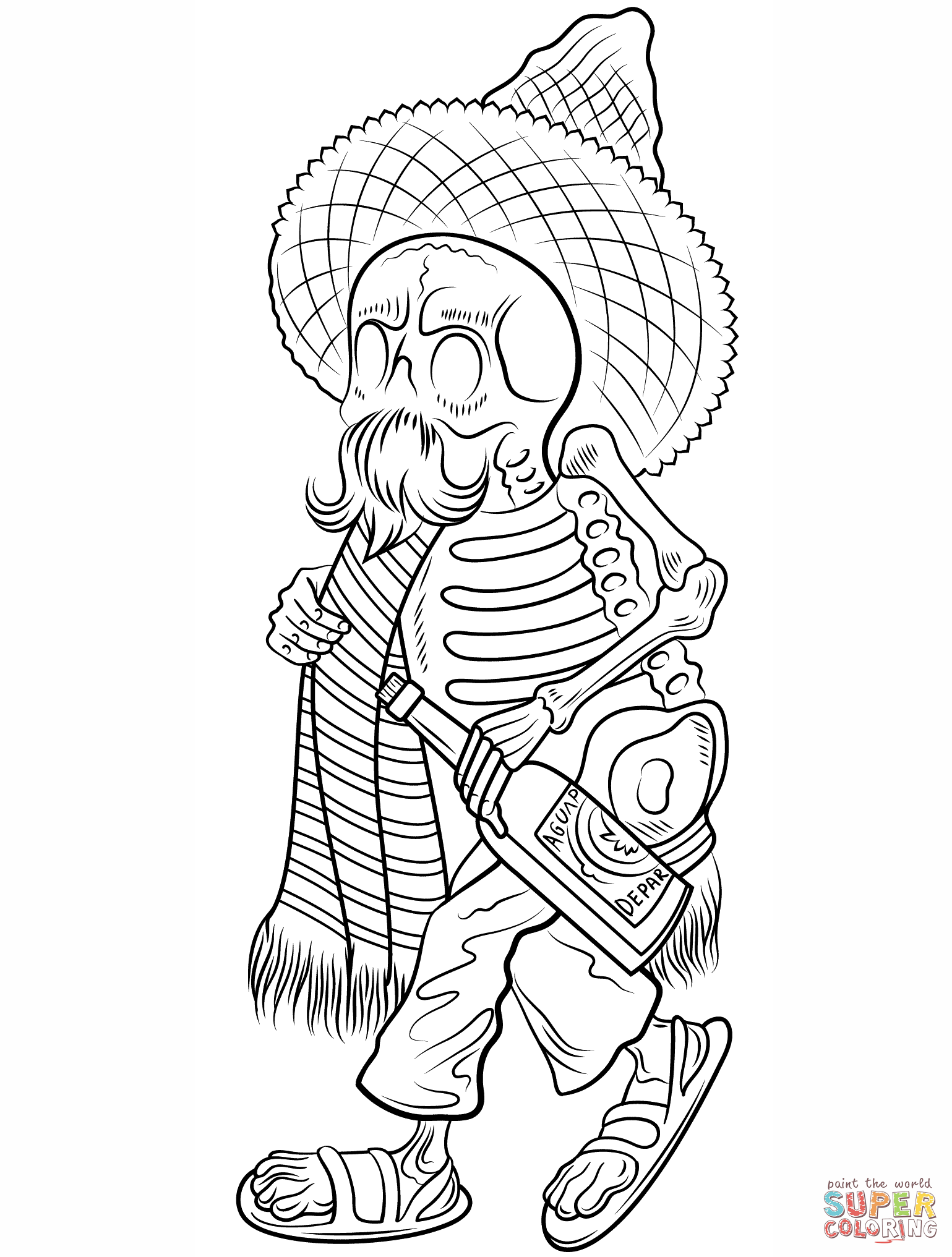 Day Of The Dead Skeleton In Poncho And Sombrero Coloring