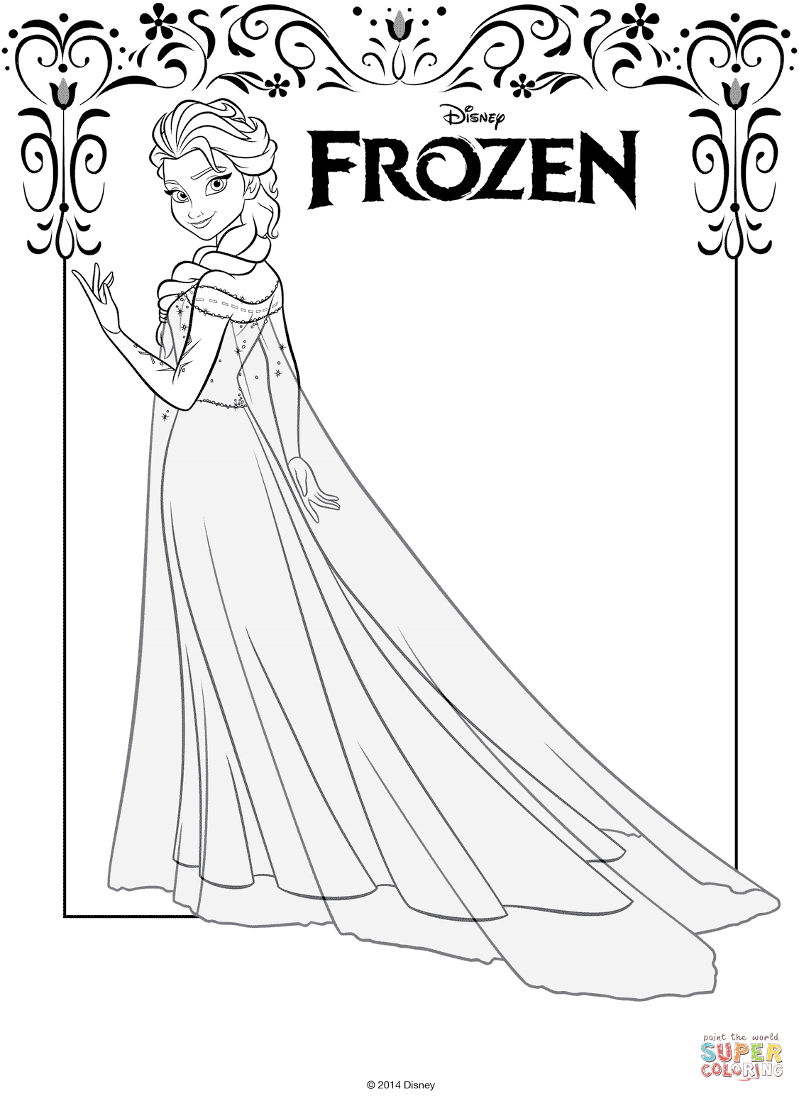 Elsa From Frozen Coloring Page Free Printable Coloring Pages