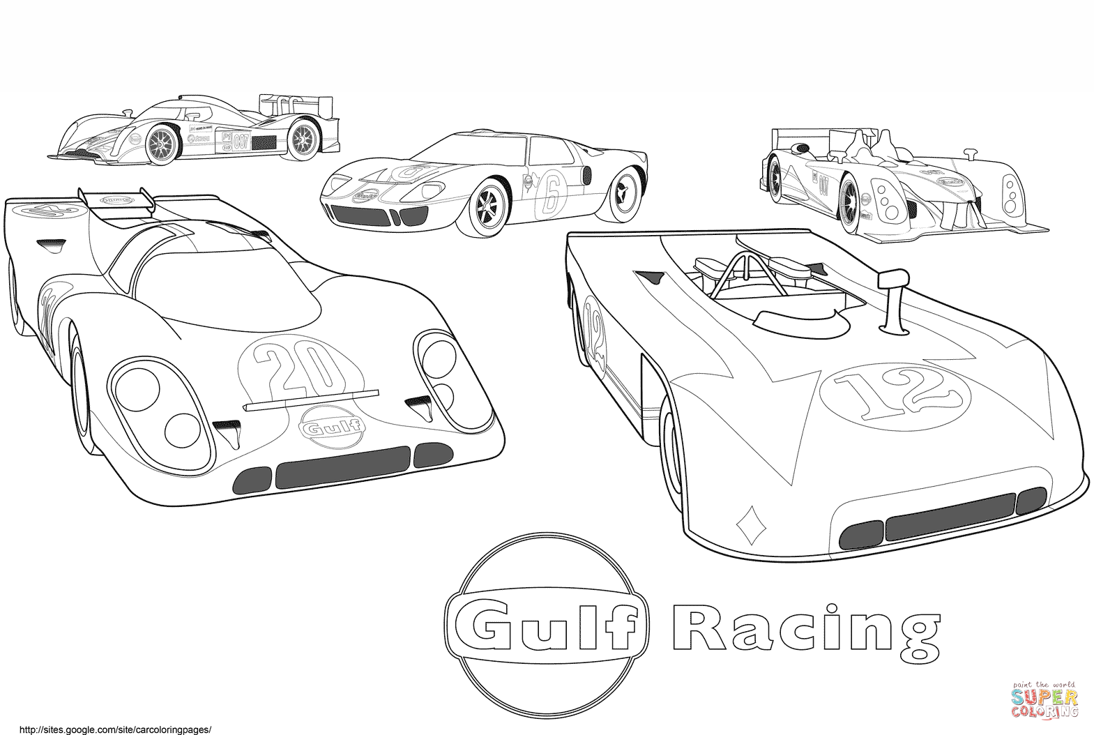 Gulf Racing Cars Coloring Page Free Printable Coloring Pages