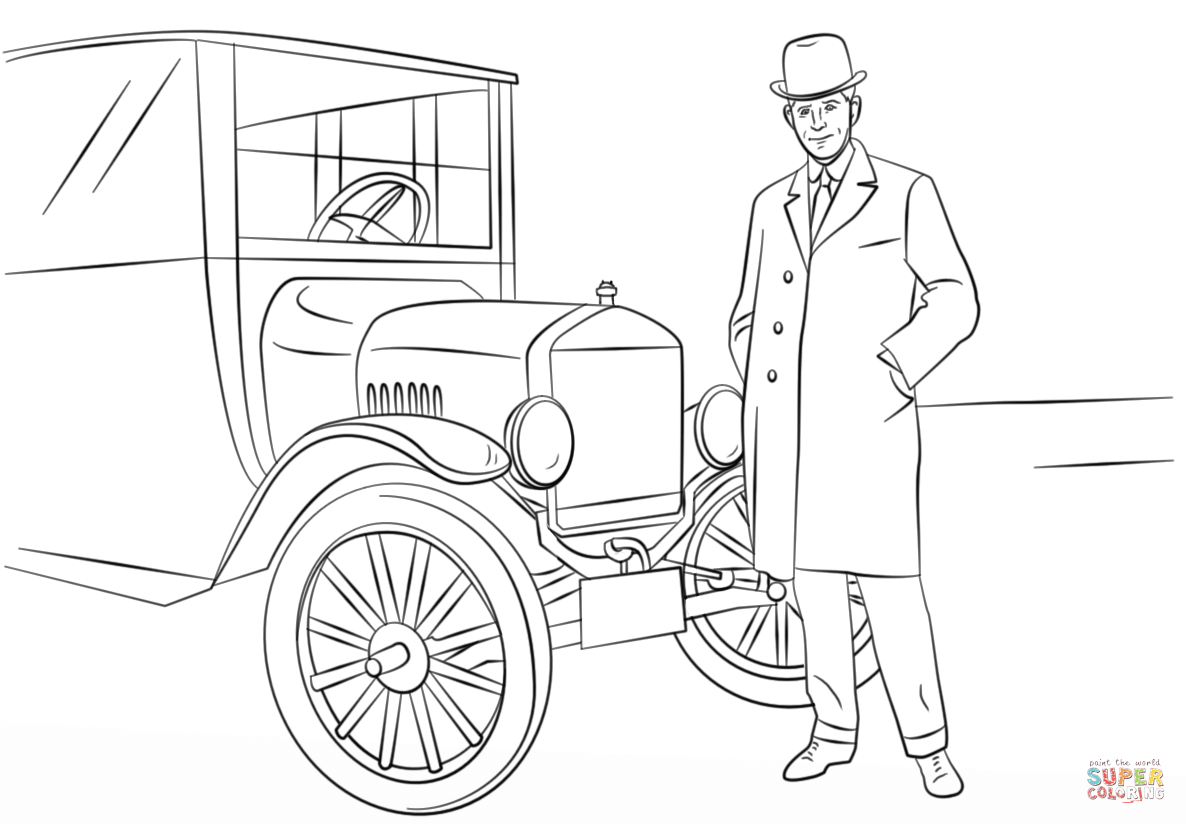 Henry Ford And Model T Car Coloring Page
