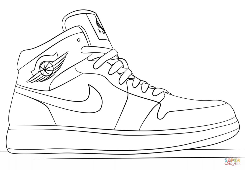 Nike Jordan Sneakers Coloring Page