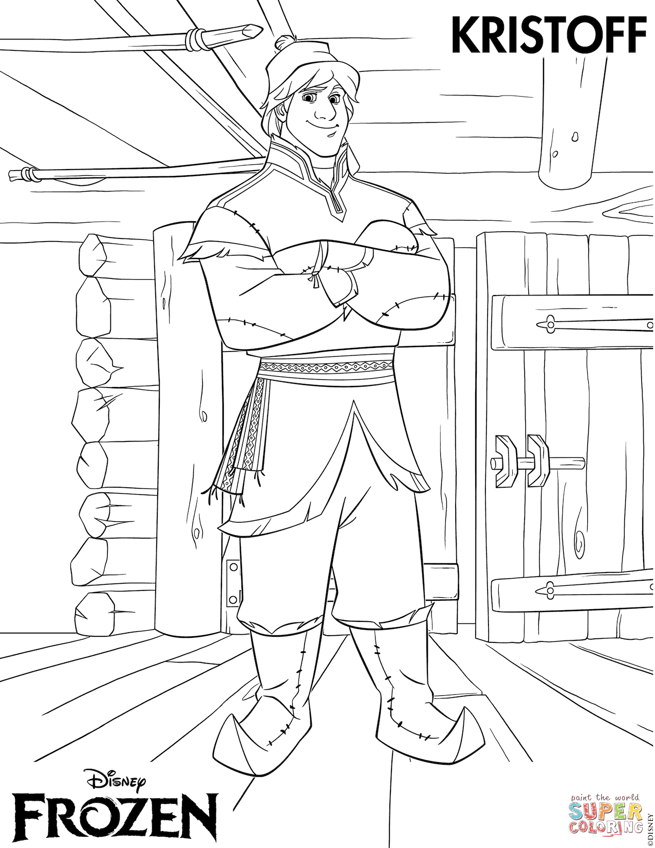 Kristoff From Frozen Coloring Page Free Printable Pages