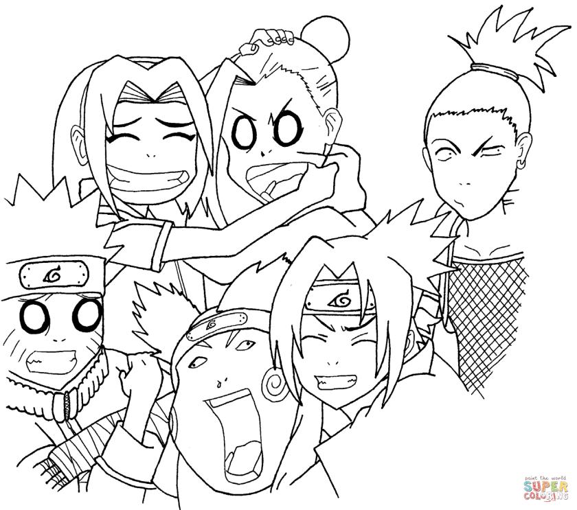 naruto squad 7 and 10 coloring page  free printable