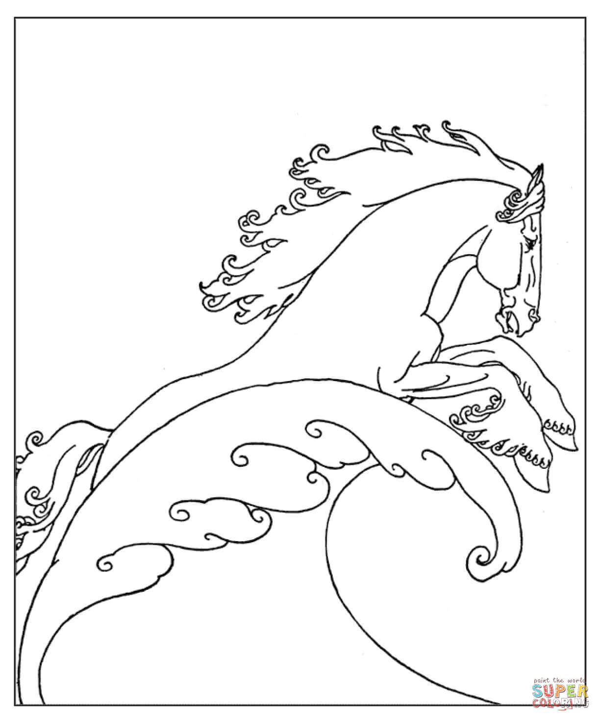 neptune 39 s sea horse coloring page free printable coloring pages