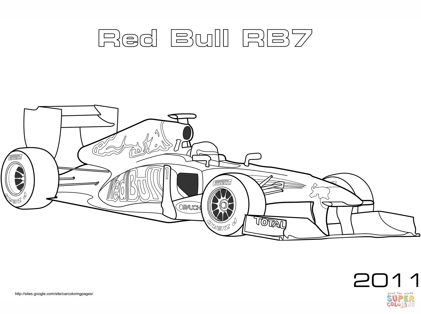 Red Bull Rb7 Formula 1 Car Coloring Page Free Printable Coloring