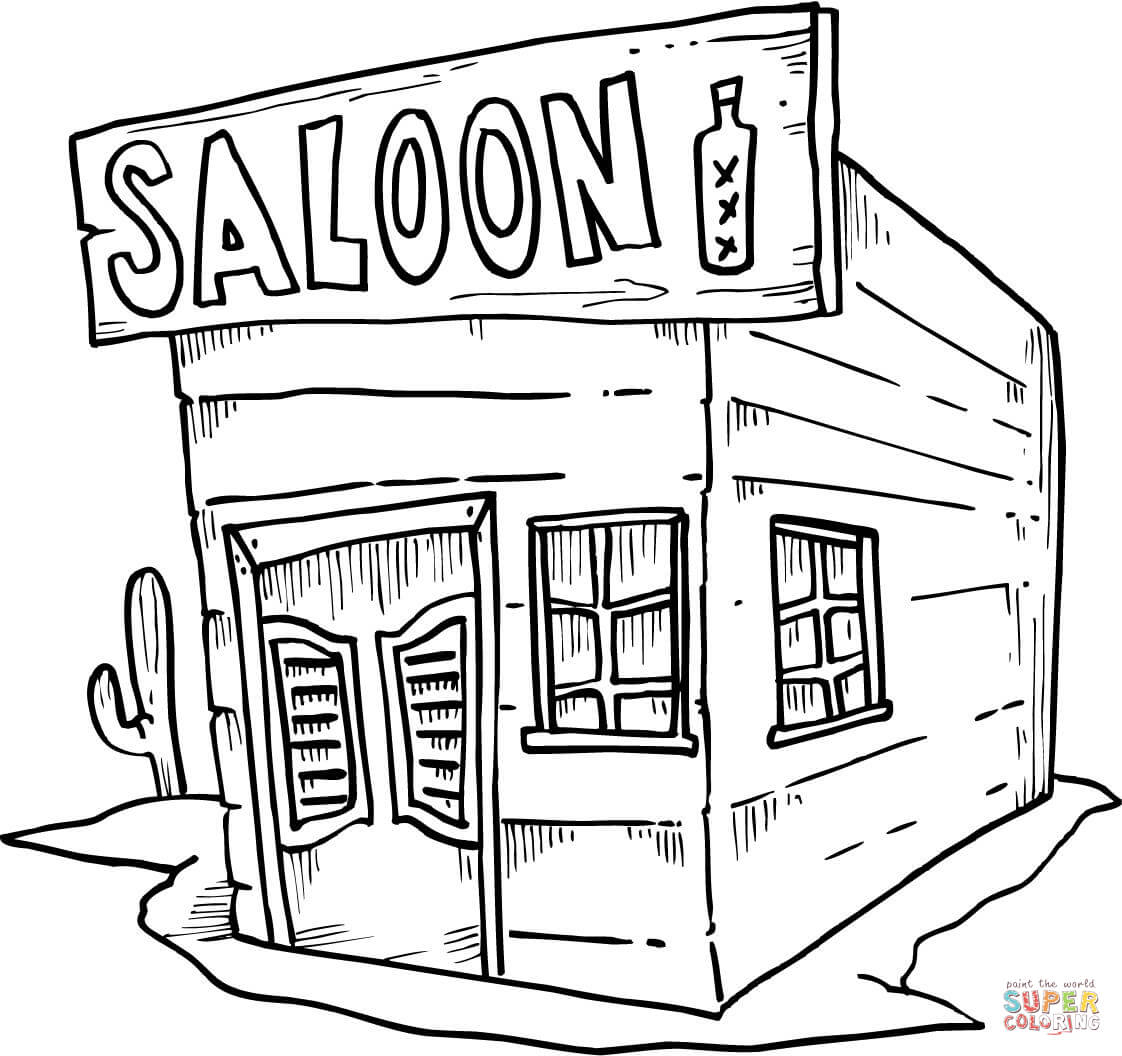 Saloon Coloring Page