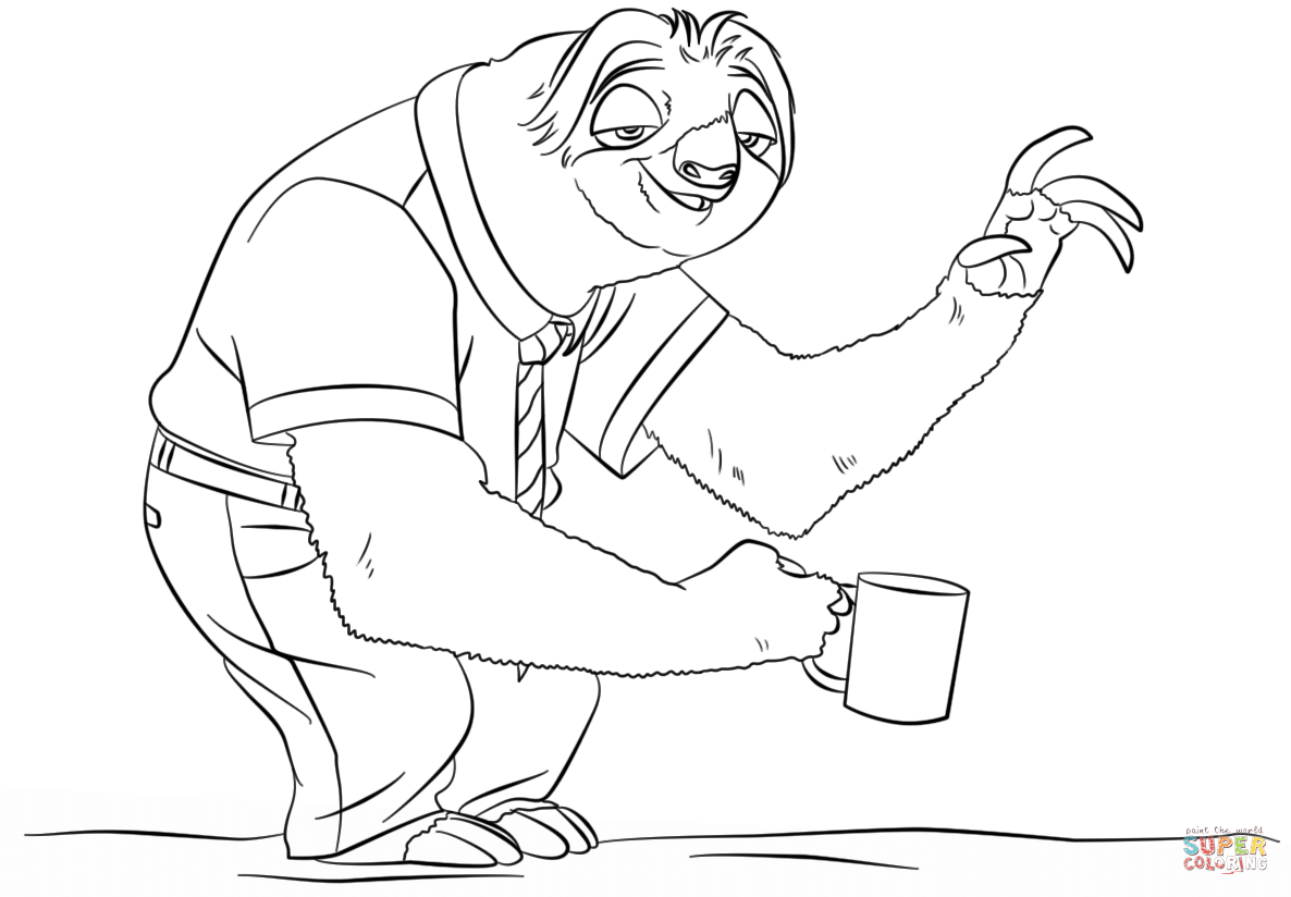 Sloth Flash From Zootopia Coloring Page Free Printable Coloring