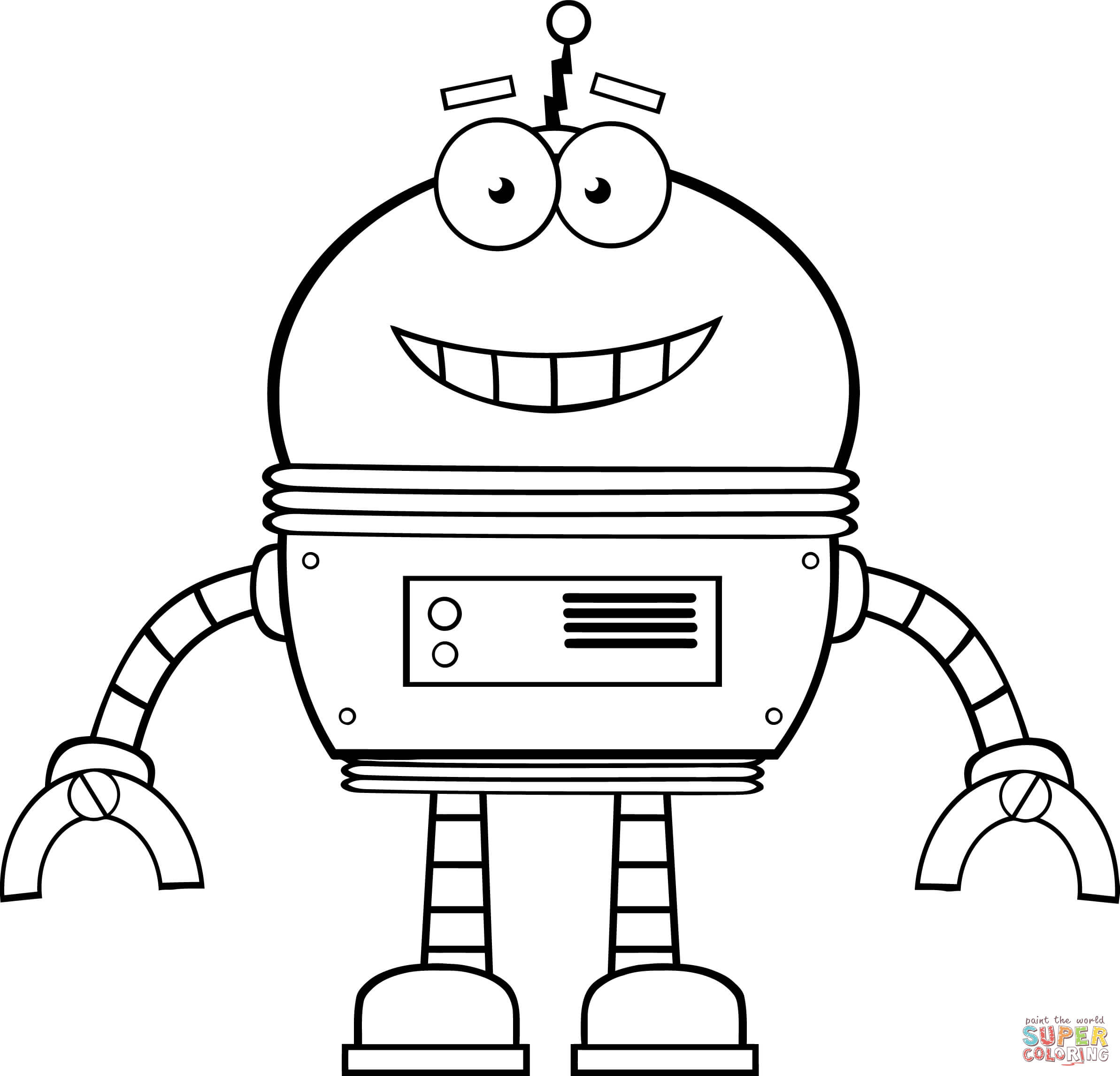 Smiling Robot Coloring Page