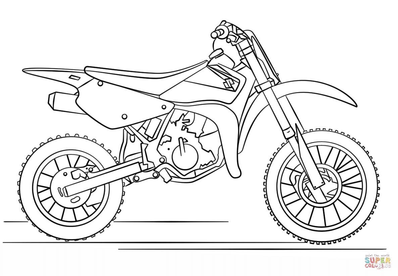 Suzuki Dirt Bike Coloring Page