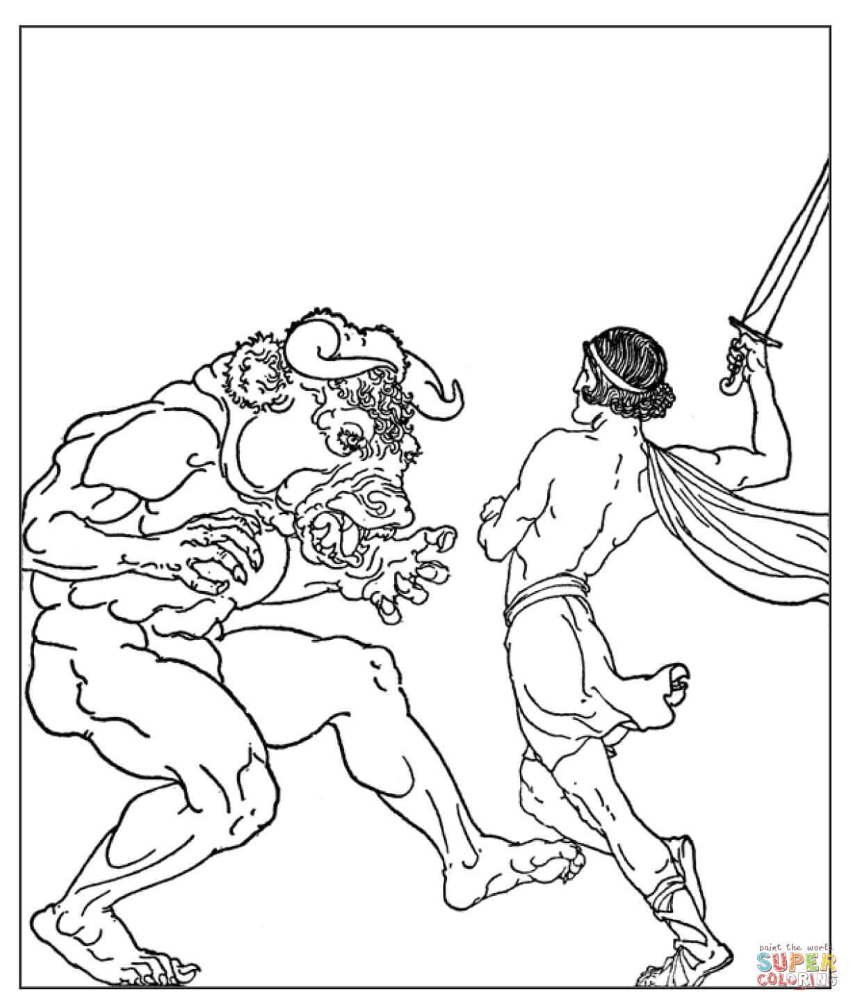 Disegno Di Teseo Che Uccide Il Minotauro Da Colorare