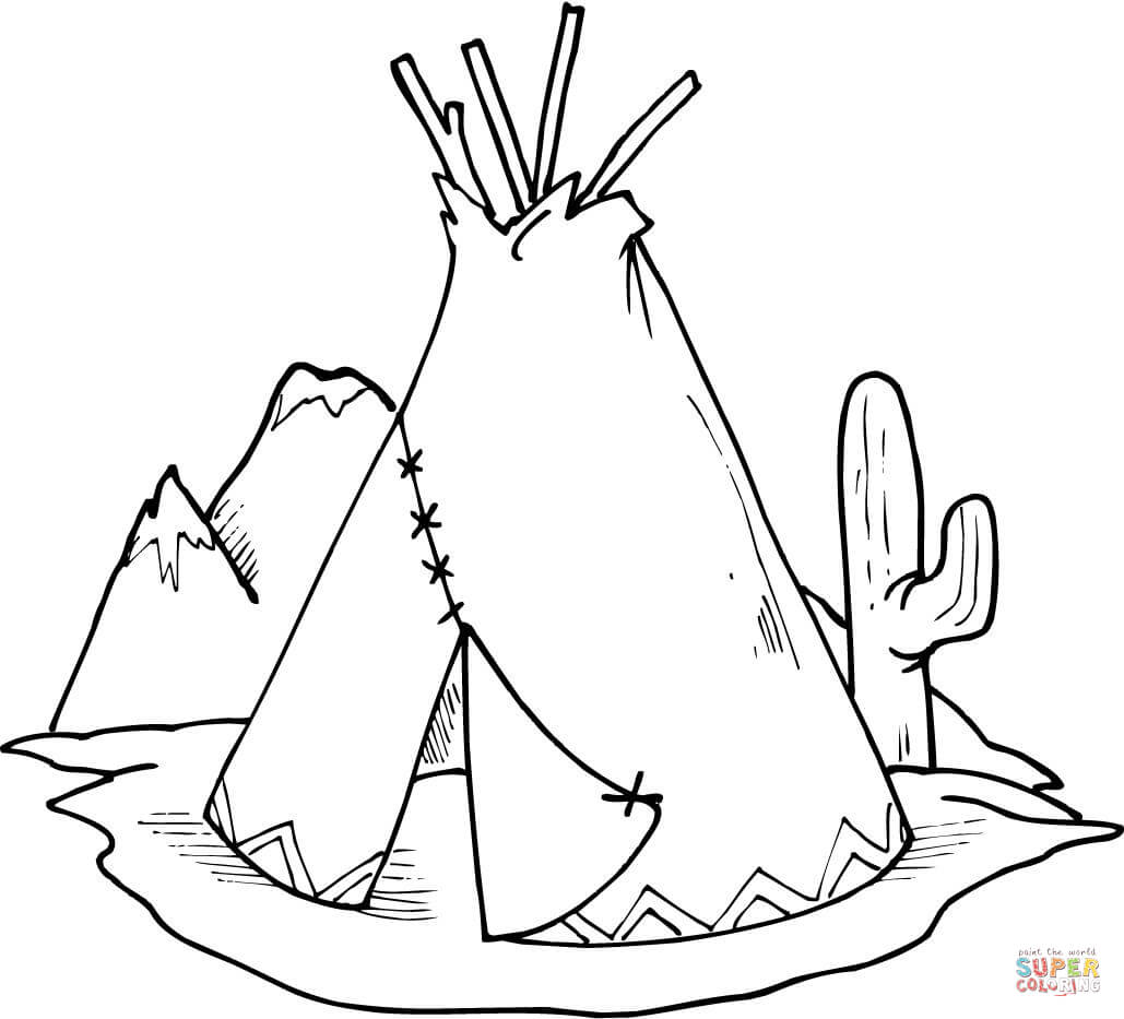 Tipi Teepee And Cactus Coloring Page