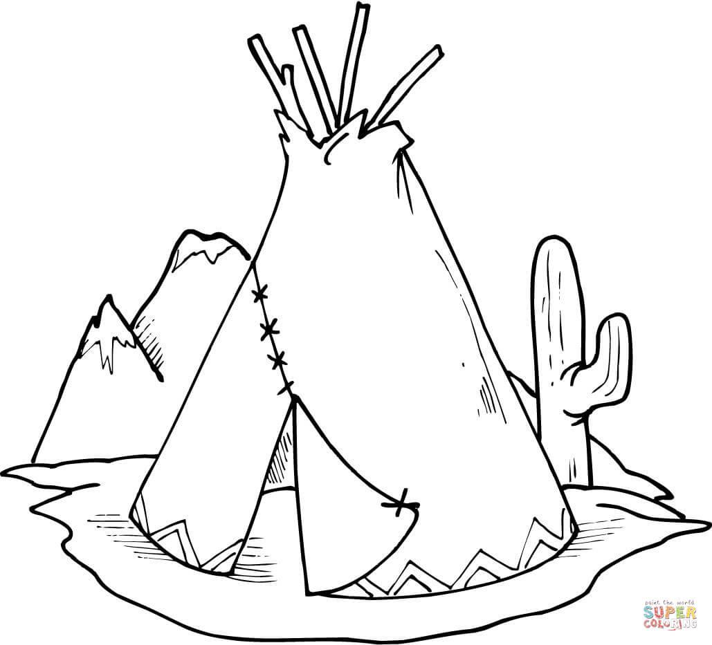 Wigwam Kleine Tent En Cactus Kleurplaat
