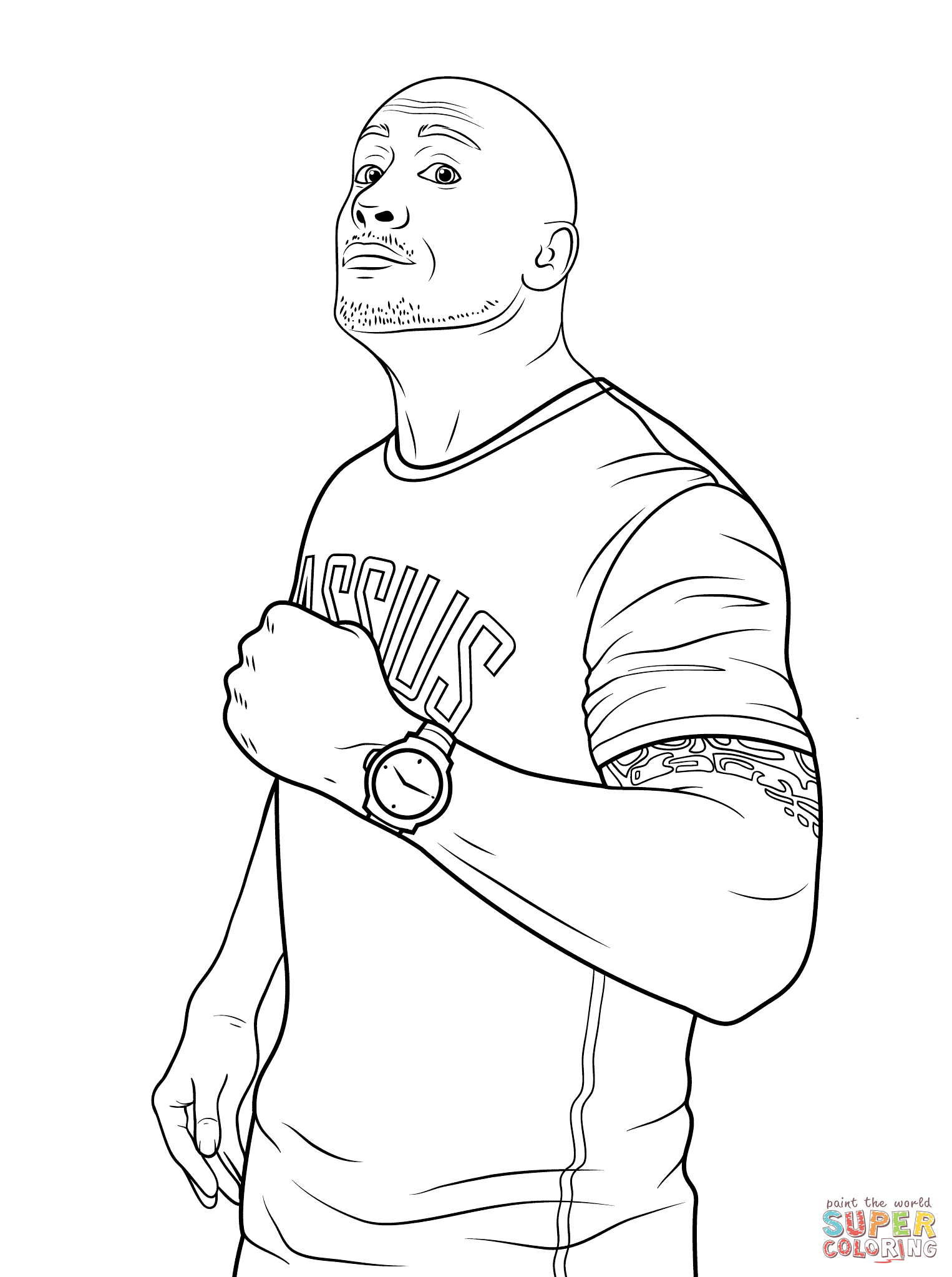 Wwe Dwayne The Rock Johnson Coloring Page