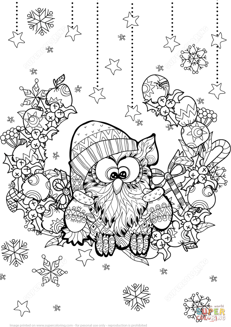 christmas owl zentangle coloring page | free printable coloring pages