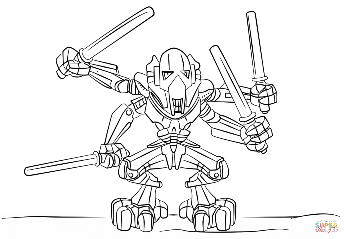Lego General Grievous Coloring Page Free Printable Coloring Pages
