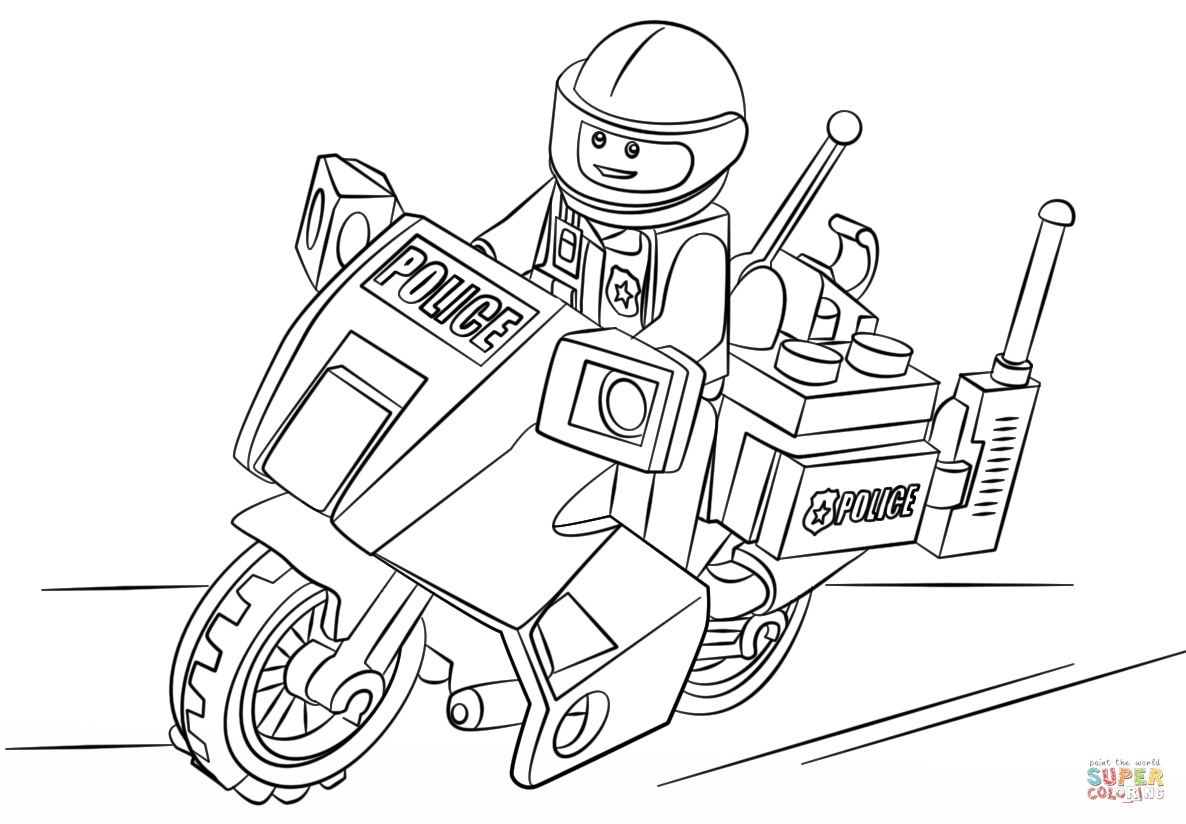 lego moto police coloring page free printable coloring pages