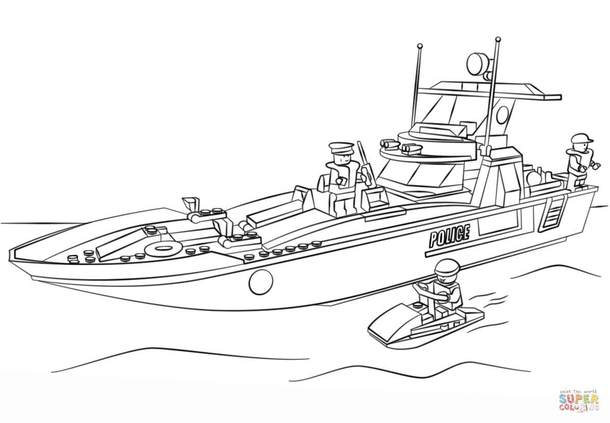 Lego Police Boat Coloring Page