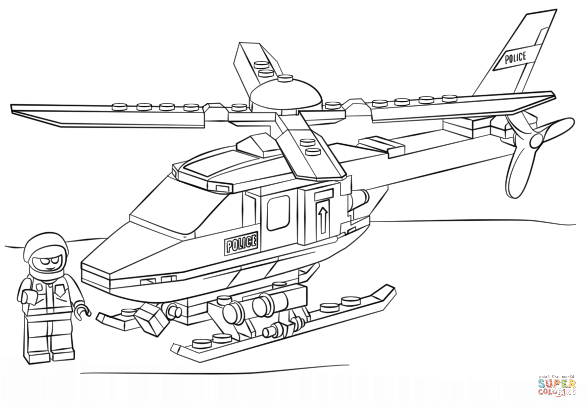 Lego Police Helicopter Coloring Page