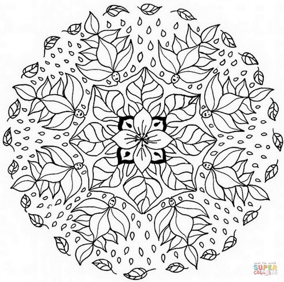 coloriage mandala avec motif floral coloriages à imprimer