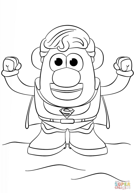 Dibujo De Mr Potato Con Cabeza De Superman Para Colorear