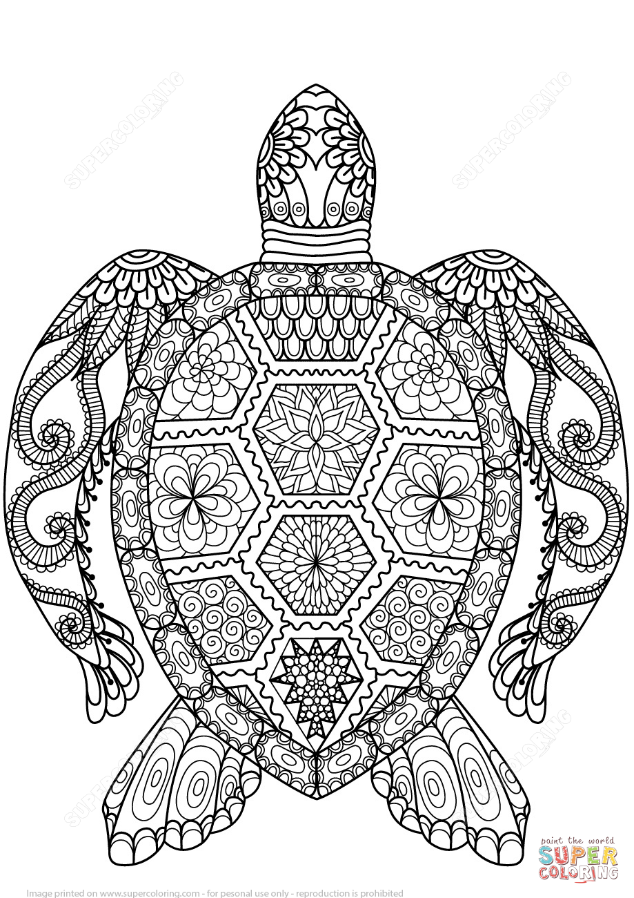 turtle zentangle coloring page free printable coloring pages