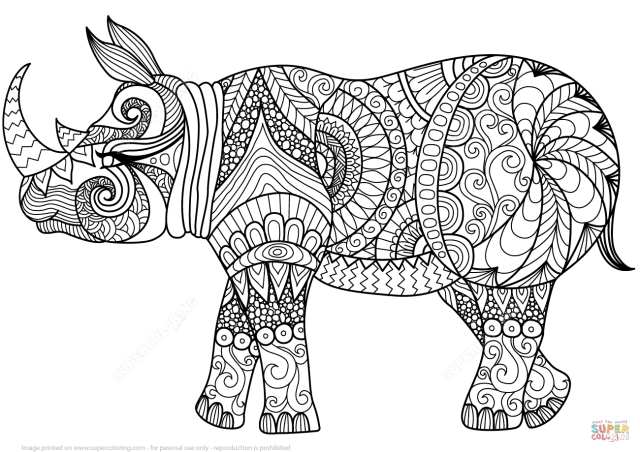 Zentangle Rhino coloring page  Free Printable Coloring Pages