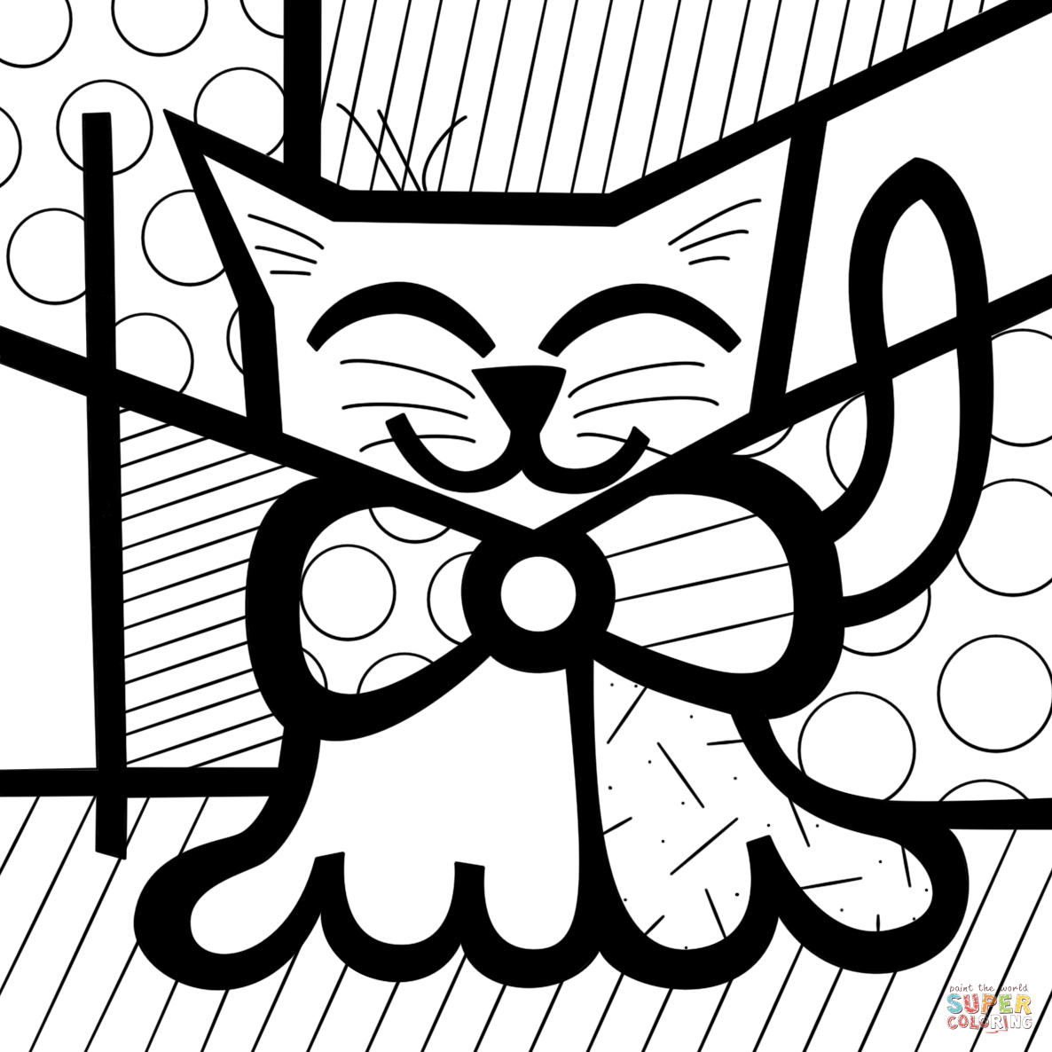 cute cat by romero britto coloring page free printable coloring