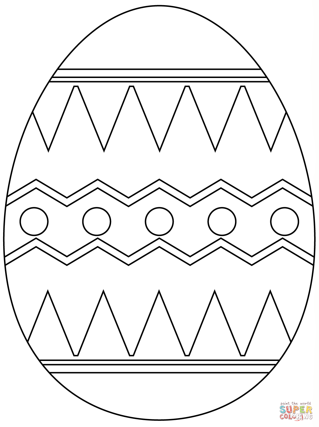 Easter Egg With Abstract Pattern Coloring Page
