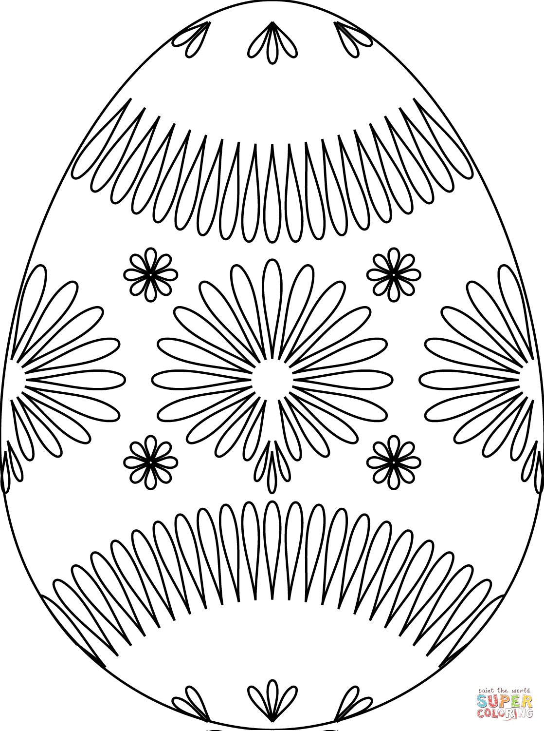 Easter Egg With Flower Pattern Coloring Page