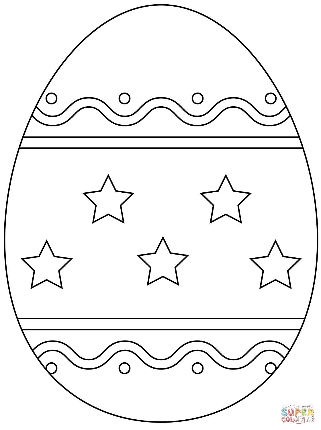 Easter Egg With Simple Pattern Coloring Page