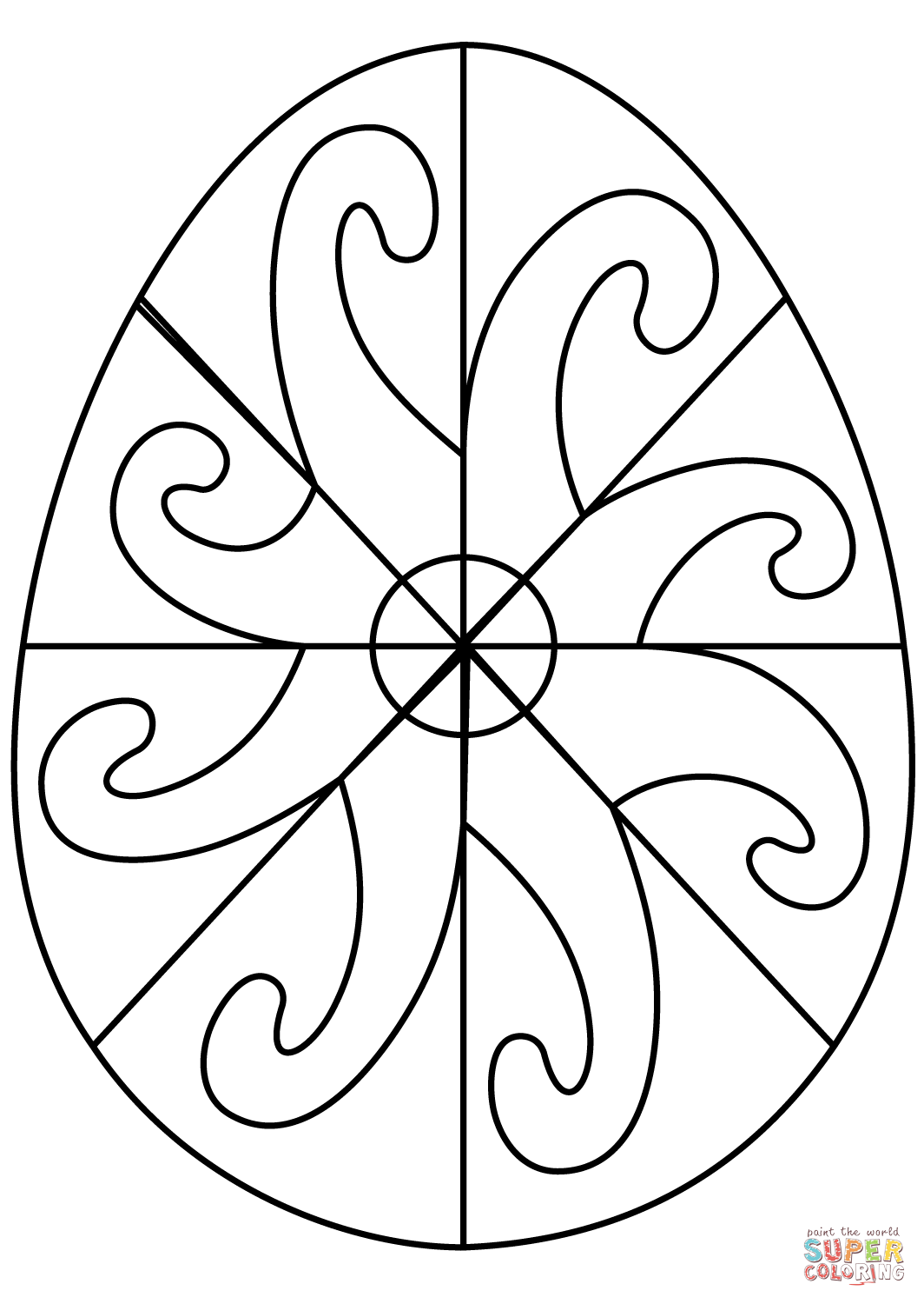 Easter Egg With Spiral Pattern Coloring Page
