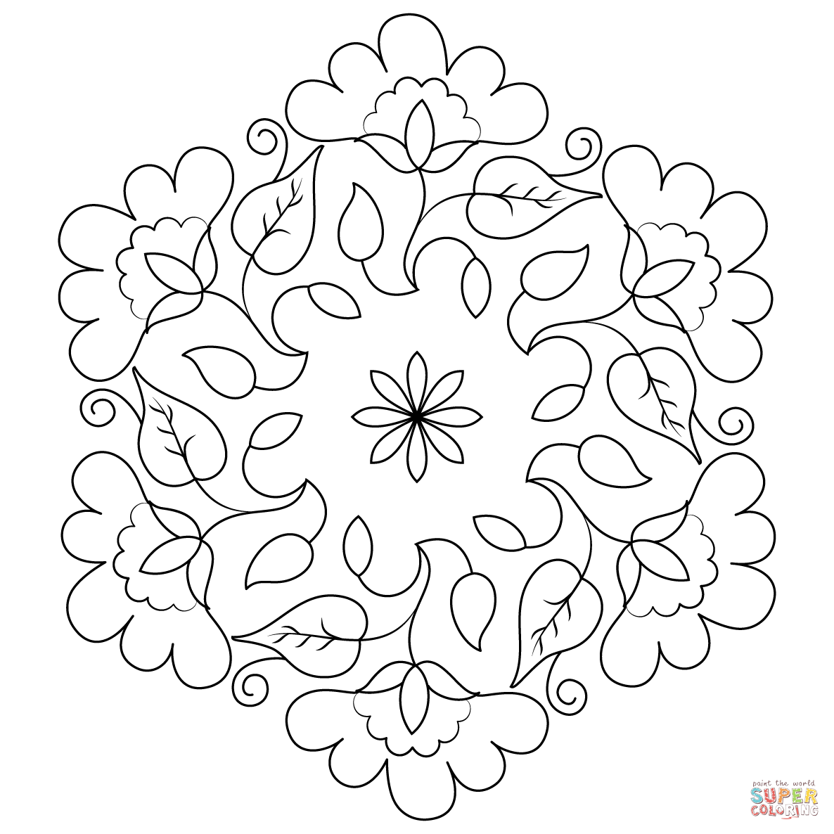 Flower Buds Kolam Coloring Page