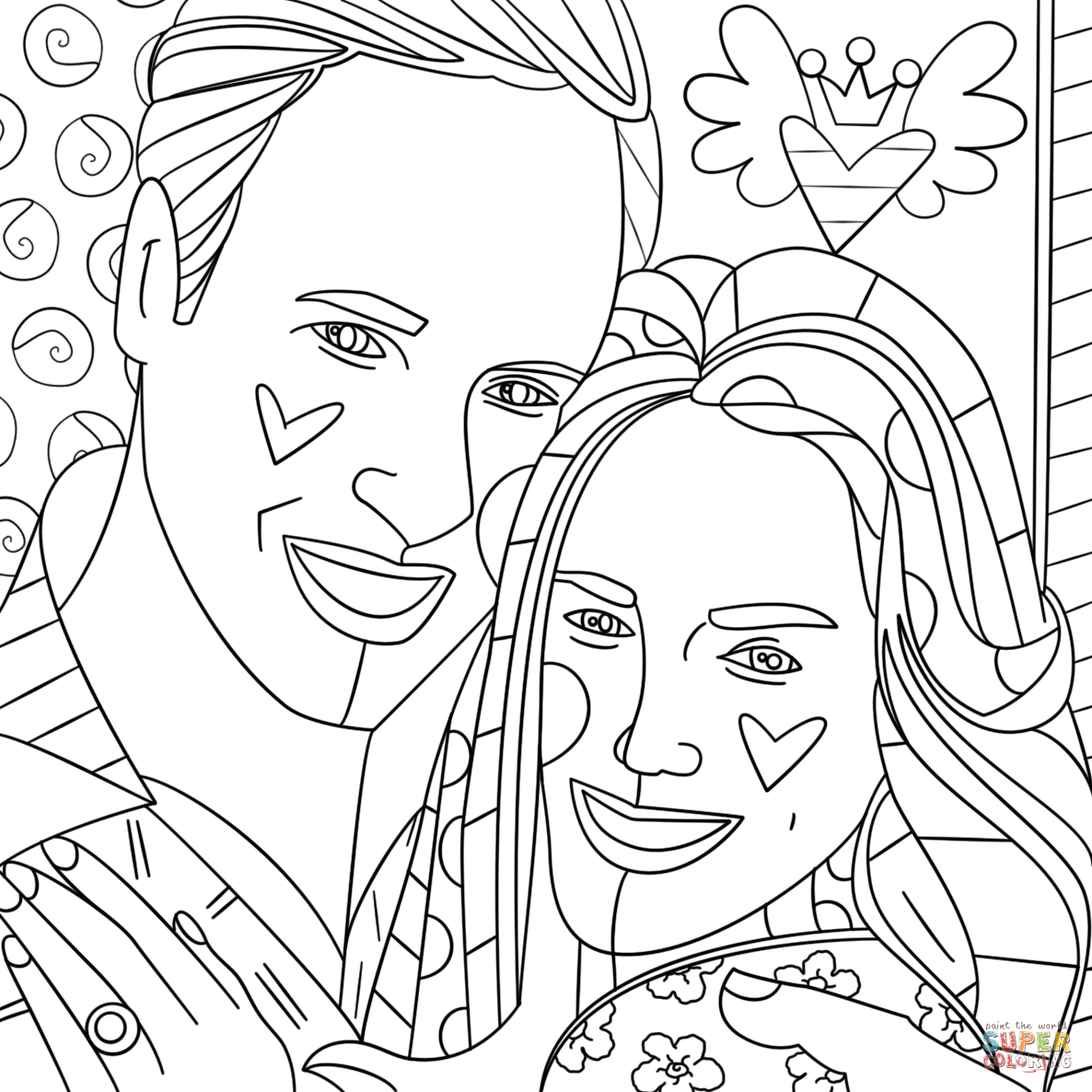 Kate Middleton And Prince William By Romero Britto Coloring Page