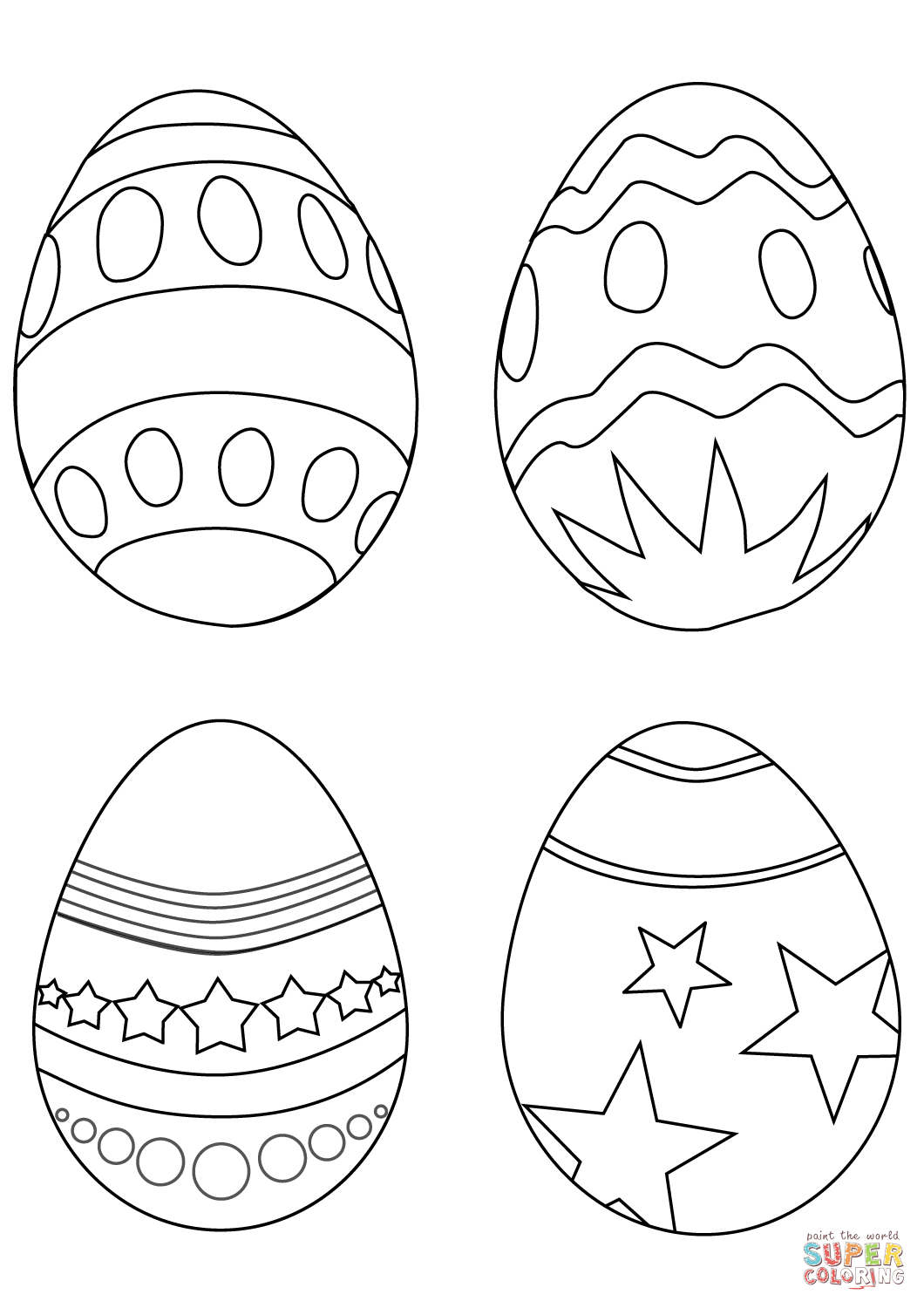 Simple Easter Eggs Coloring Page