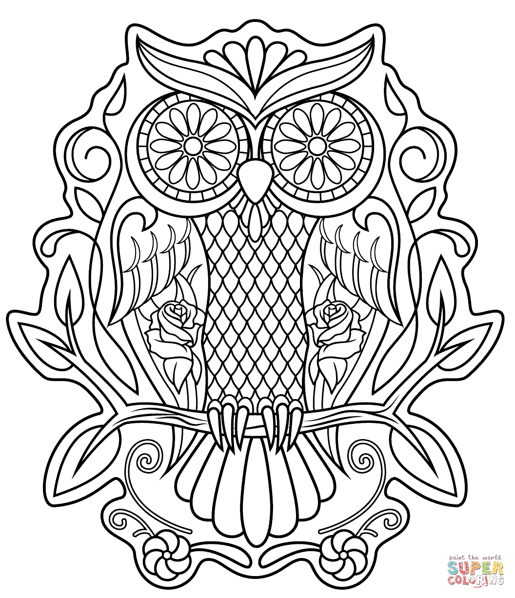 Sugar Skull Owl Coloring Page