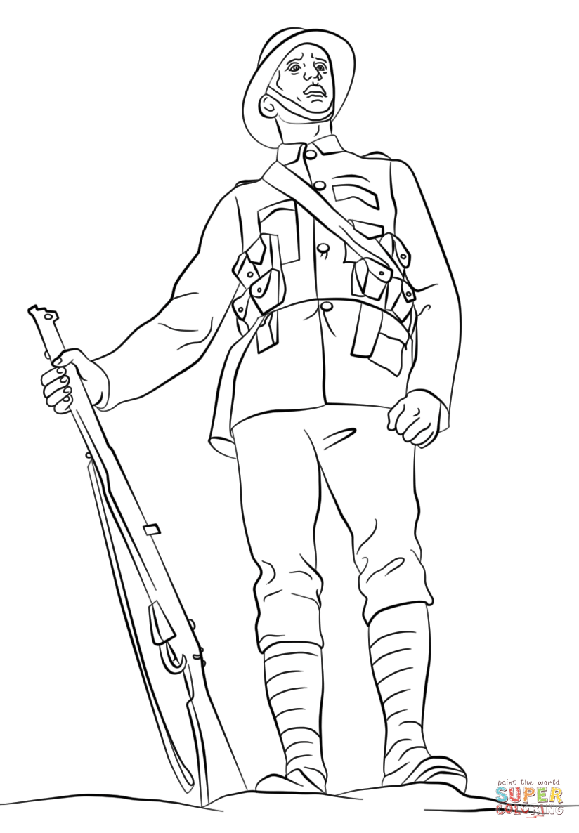 wwi british soldier coloring page free printable coloring pages
