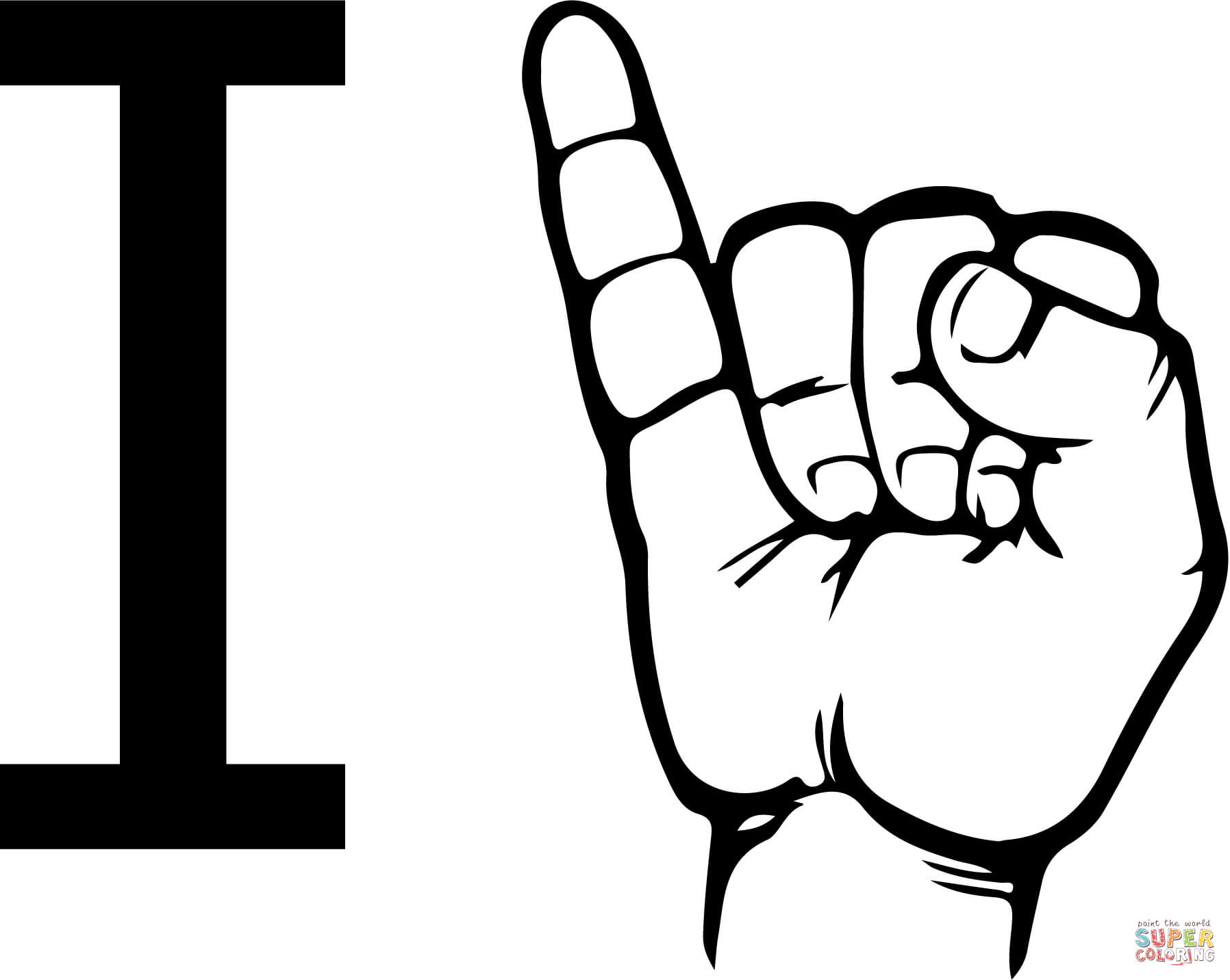 Asl Sign Language Letter I Coloring Page