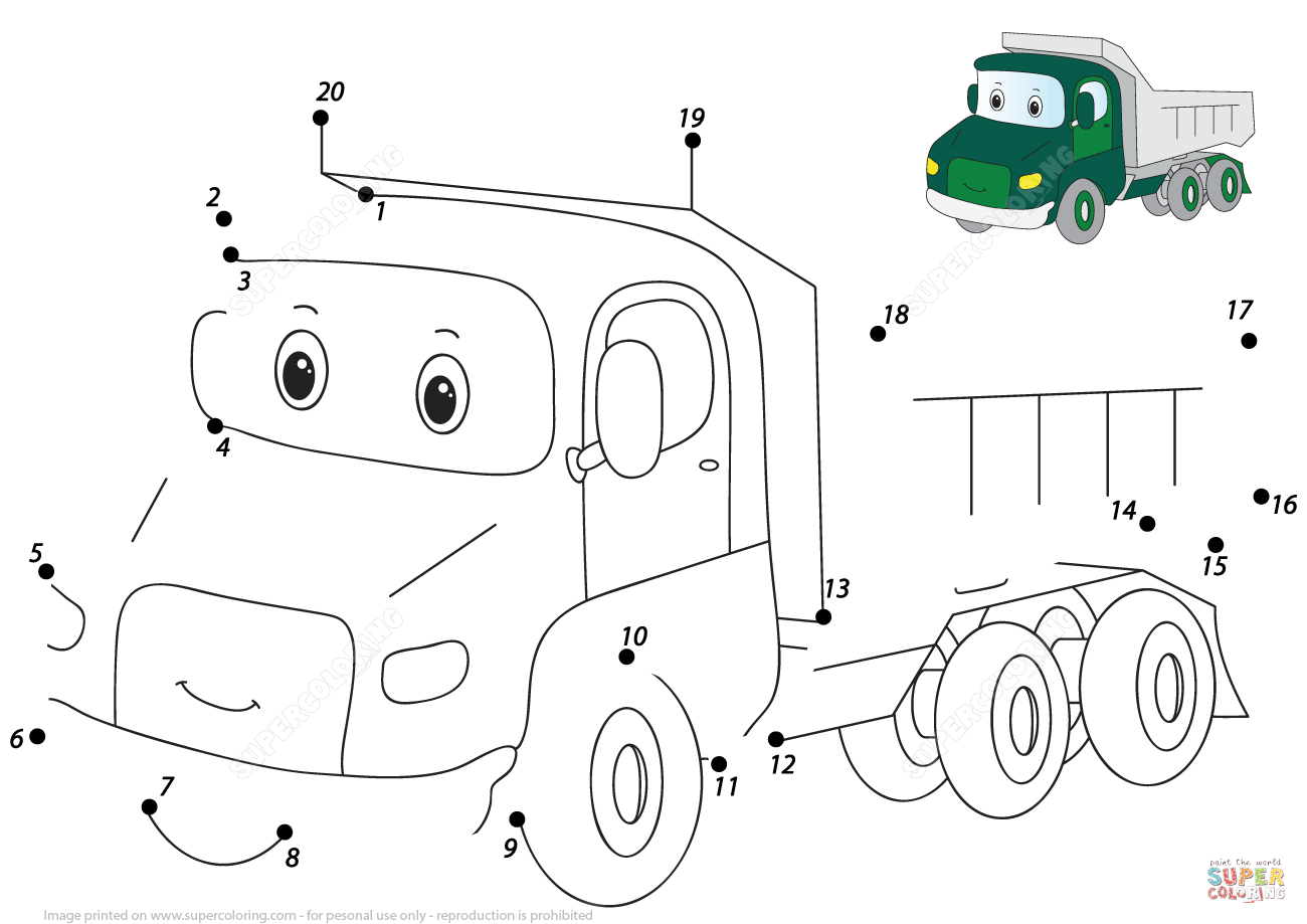 Cartoon Lorry 1 20 Dot To Dot