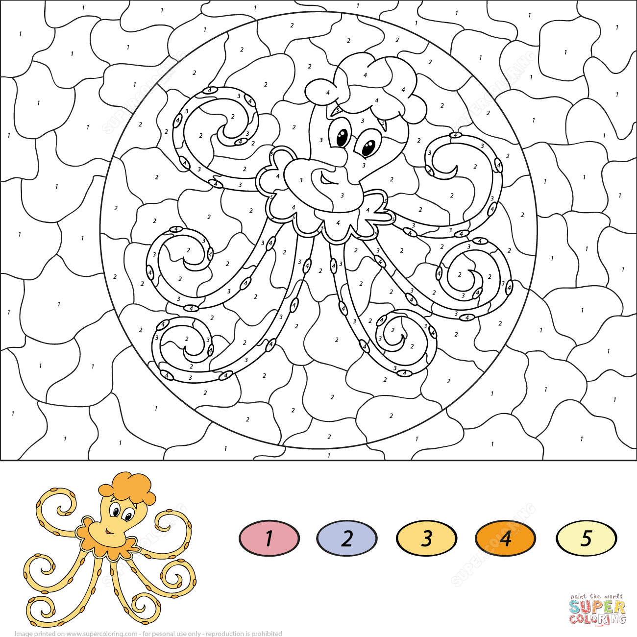 Cartoon Octopus Color By Number
