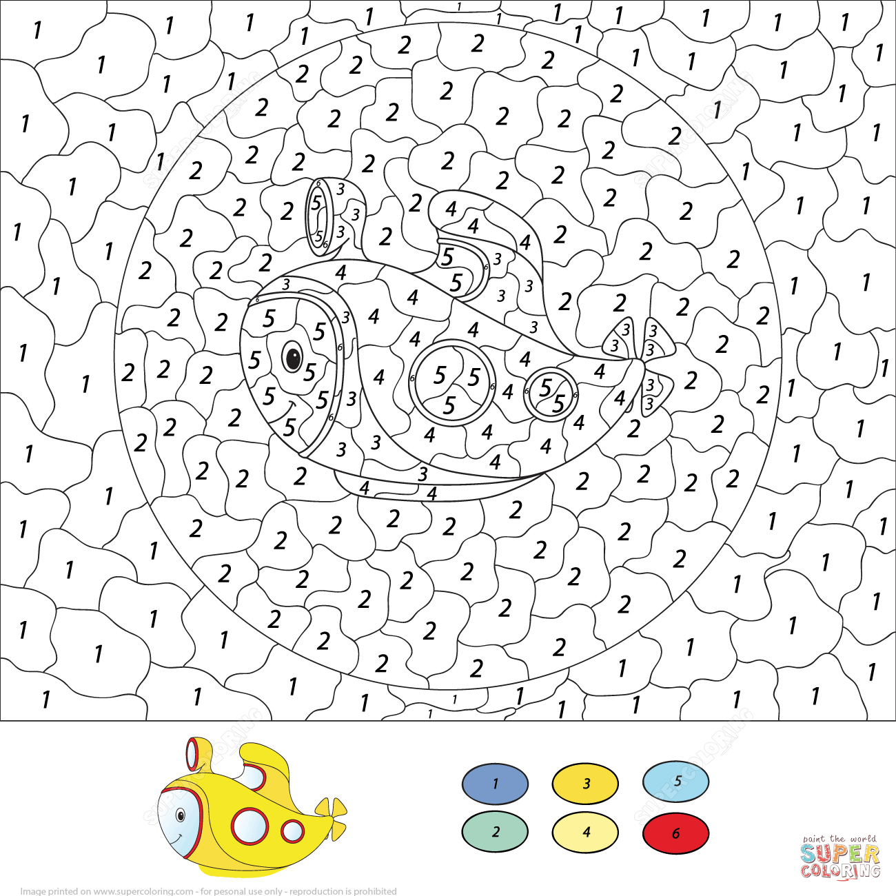 Submarine Color By Number Free Printable Coloring Pages