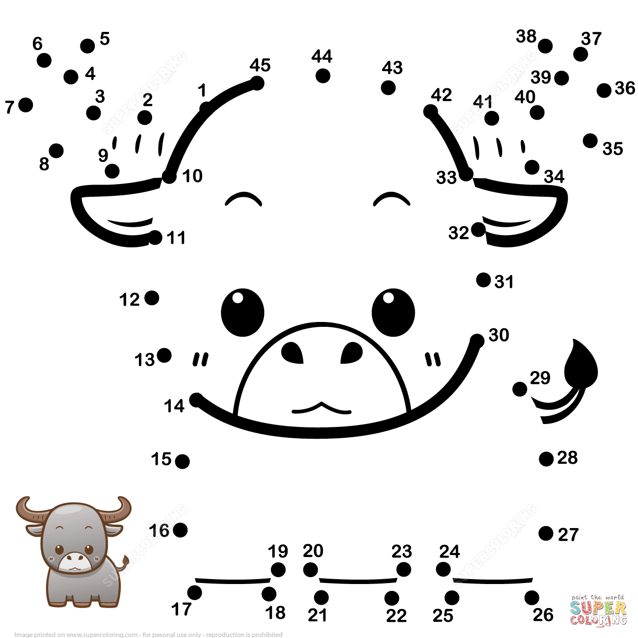 Cute Baby Buffalo Dot To Dot