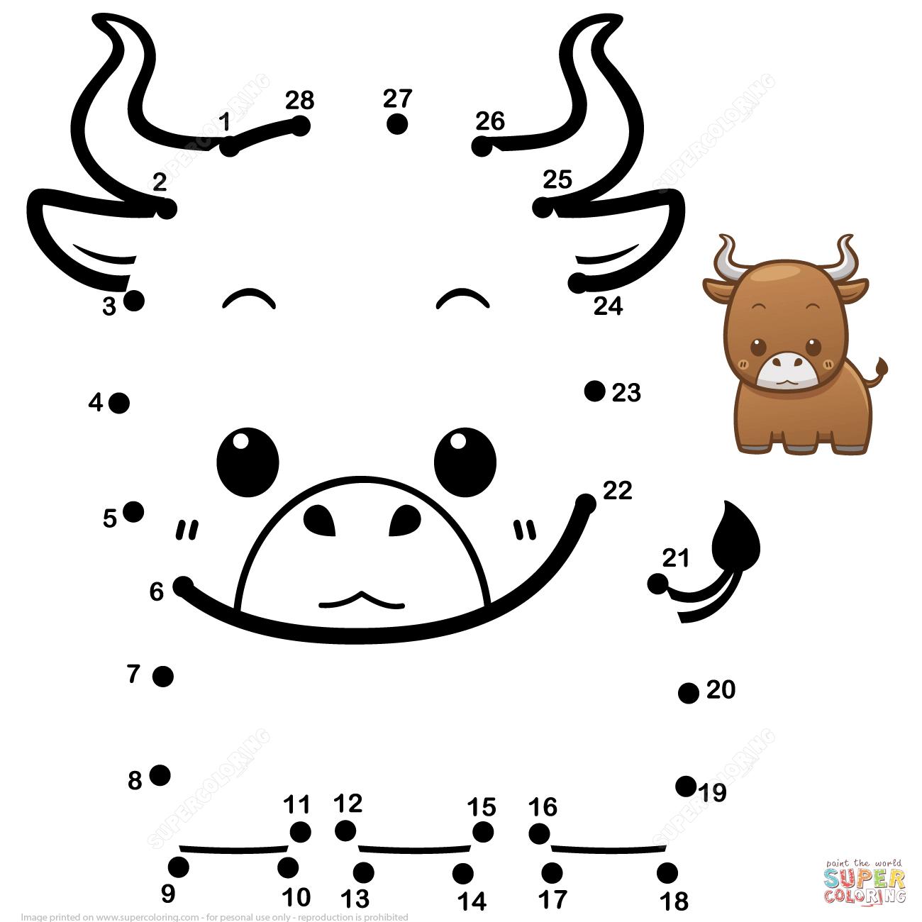 Cute Baby Bull Dot To Dot